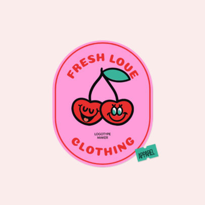 Logo Generator for Teen Clothing Brands Featuring a Cherry Cartoon 3850c