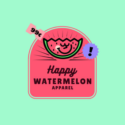 Logo Template for a Kids Apparel Brand Featuring a Happy Watermelon 3849A