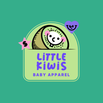 Baby Apparel Brand Logo Template with a Funny Kiwi Illustration 3849E