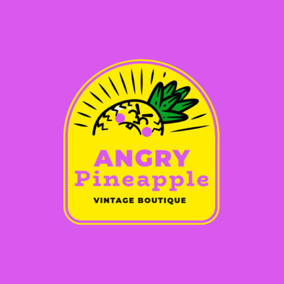 Logo Creator for an Apparel Brand with an Angry Pineapple Character 3849H