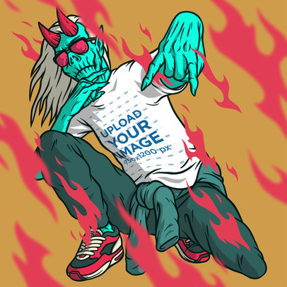 Illustrated Mockup Featuring a Swag Devil Wearing a T-Shirt m801
