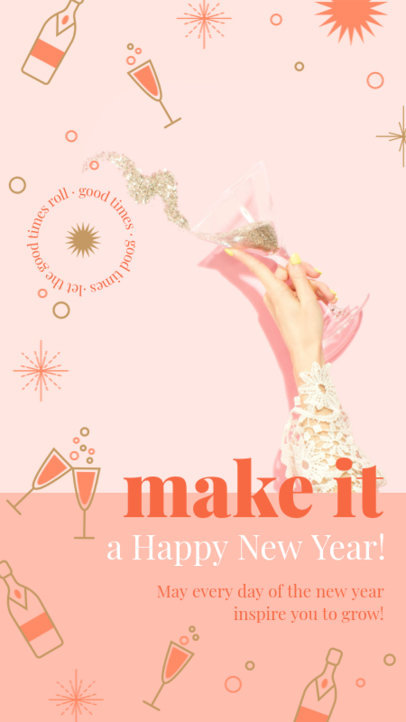 New Year-Themed Instagram Story Design Generator Featuring Party Graphics 3198b