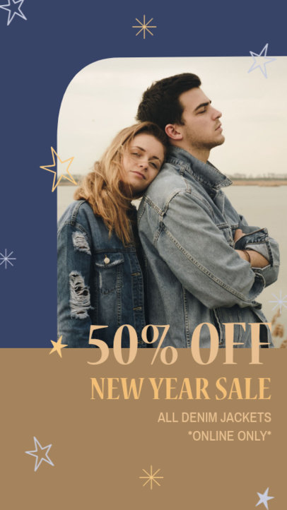Instagram Story Design Creator for Clothing Brands Featuring a New Year Sale 3198l