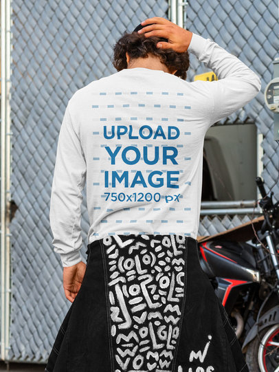 Back-View Mockup of a Man in a Long Sleeve Tee m532