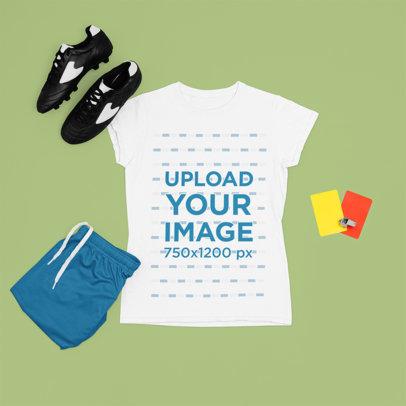 T-Shirt Mockup Featuring a Female Soccer Uniform m305