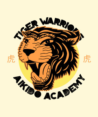 T-Shirt Design Creator for a Martial Arts Academy with a Tiger Illustration 3202c