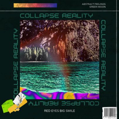 Album Art Cover Template Featuring Acid Colors for an Electronic Duo 3204e