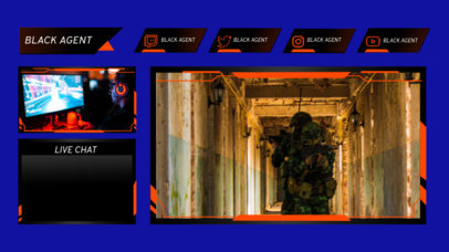 Gaming Twitch Overlay Template with a Live Chat Panel 3206b-el1
