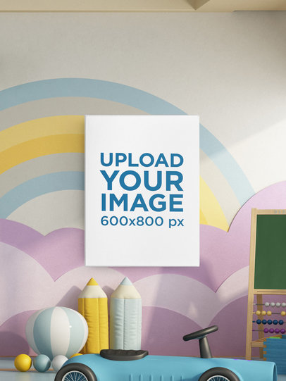 Mockup of a Vertical Art Print in a Child's Room m903