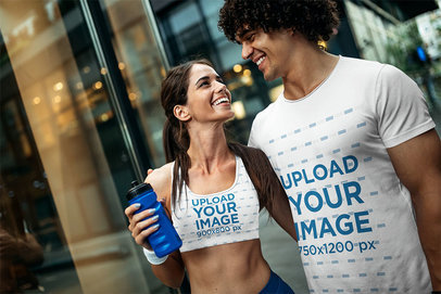 Sports Bra and T-Shirt Mockup of a Woman Laughing with Her Boyfriend 45299-r-el2