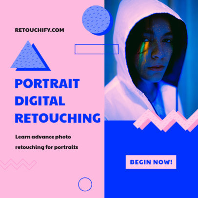 Instagram Post Maker for a Portrait Retouching Online Course 3252c-el1