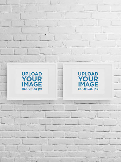 Mockup of Two Art Prints Placed on a Brick Wall m907
