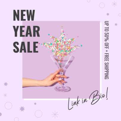 Instagram Post Generator with Shinny Graphics to Promote a New Year's Sale 3200c