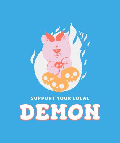 Illustrated T-Shirt Design Maker Featuring a Cute Demonic Entity 3207e