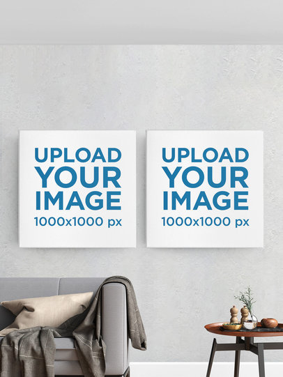 Mockup of Two Square Art Prints Featuring a Customizable Background m915