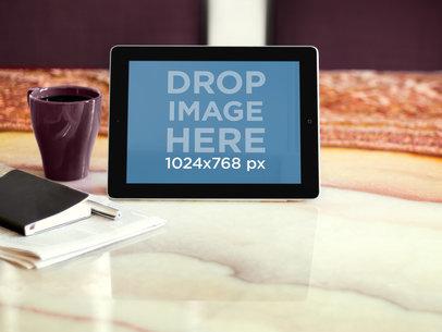 iPad Black Landscape On Marble Table