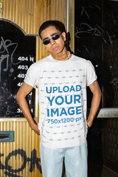 T-Shirt Mockup of a Young Man with Swag Posing on the Street m578
