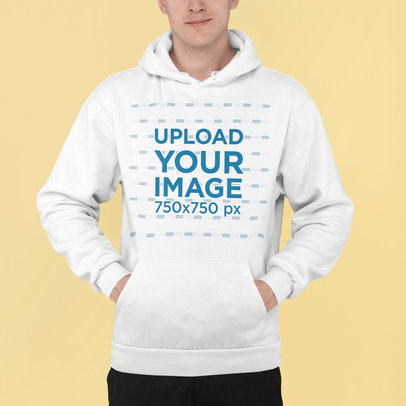 Pullover Hoodie Mockup Featuring a Man Standing at a Studio m838