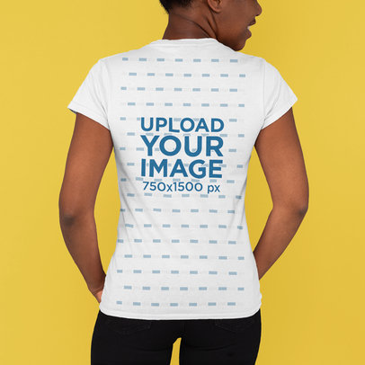 Back-View T-Shirt Mockup Featuring a Smiling Woman in a Studio M808