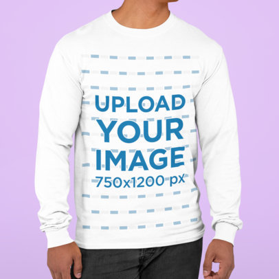 Long Sleeve Tee Mockup Featuring a Man Standing Against a Plain Backdrop m820