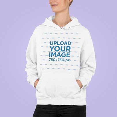 Cropped Face Mockup of a Woman with a Hoodie Standing in a Studio m849