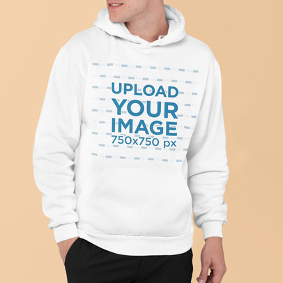 Mockup of a Man Wearing a Pullover Hoodie with His Face Cropped m839
