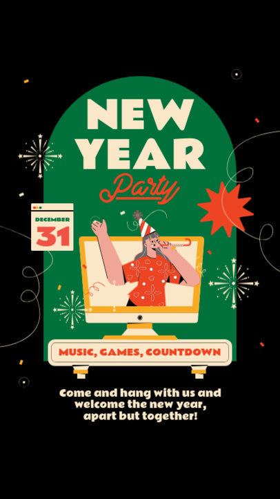 Instagram Story Template for a Virtual New Year's Eve Celebration 3262-el1