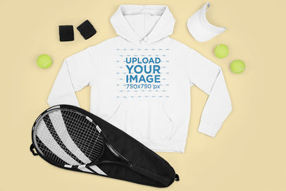 Hoodie Mockup Featuring Tennis Training Equipment M656