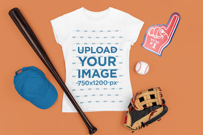 Mockup of a Women's Tee Surrounded by Baseball Items m677