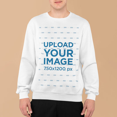 Sweatshirt Mockup Featuring a Young Man Standing in Front of a Plain Backdrop m836