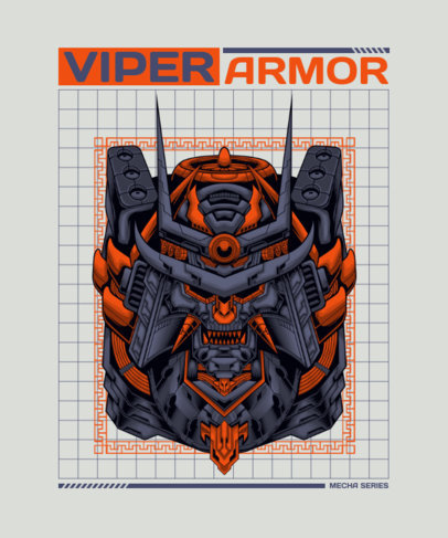 Illustrated T-Shirt Design Maker Featuring a Sci-Fi Robot 3288h-el1