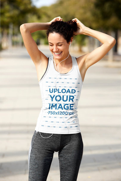 Tank Top Mockup of a Female Runner Fixing Her Hair 40782-r-el2