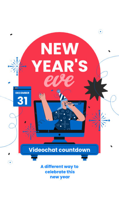 Illustrated Instagram Story Creator for a Virtual New Year's Eve Party 3262d-el1