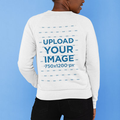 Cropped Face Mockup of a Woman Showing the Back of Her Sweatshirt m816