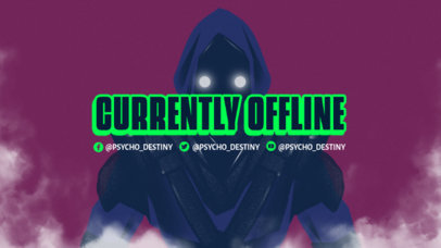 Twitch Offline Banner Creator Featuring a Mysterious Character with a Cyberpunk Style 3221b