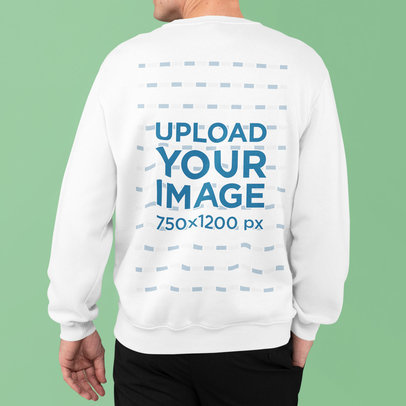 Back View Mockup of a Man Wearing a Sweatshirt and Posing With a Hand in His Pocket m837