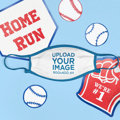 Mockup of a Face Mask Surrounded by Baseball Items m678