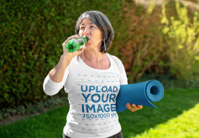 3/4 Sleeve T-Shirt Mockup of a Mature Woman Drinking Water After a Yoga Session 45607-r-el2