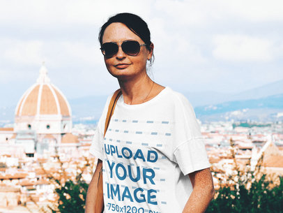 T-Shirt Mockup of a Woman Visiting a City 45618-r-el2