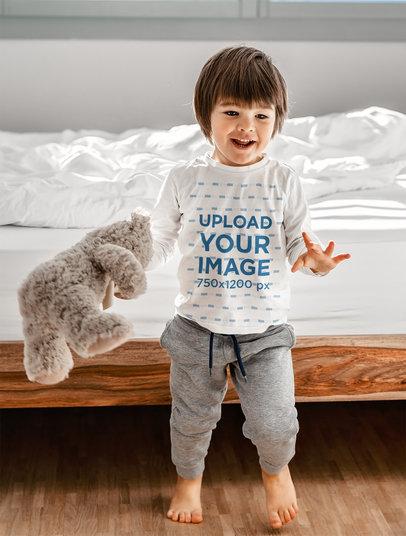 Long-Sleeve Tee Mockup of a Boy with a Teddy Bear 45605-r-el2