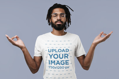 T-Shirt Mockup Featuring a Bearded Man with a Meditating Hand Gesture 45284-r-el2