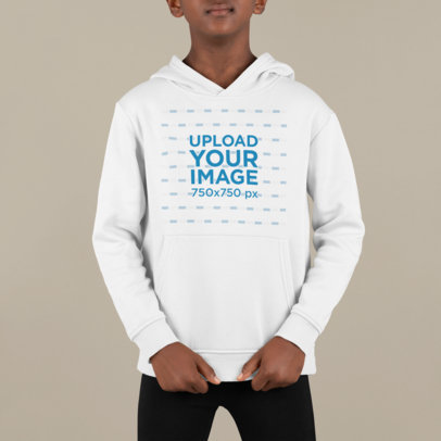 Hoodie Mockup of a Serious Boy Standing in a Studio M869