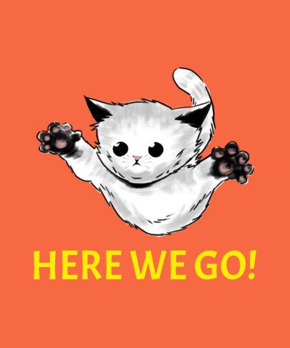 Illustrated T-Shirt Design Generator Featuring a Kitten Jumping 3244a