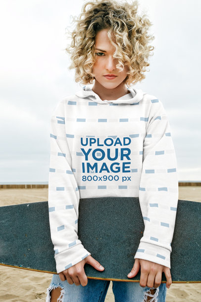 Sublimated Hoodie Mockup Featuring a Serious Female Skater 45340-r-el2