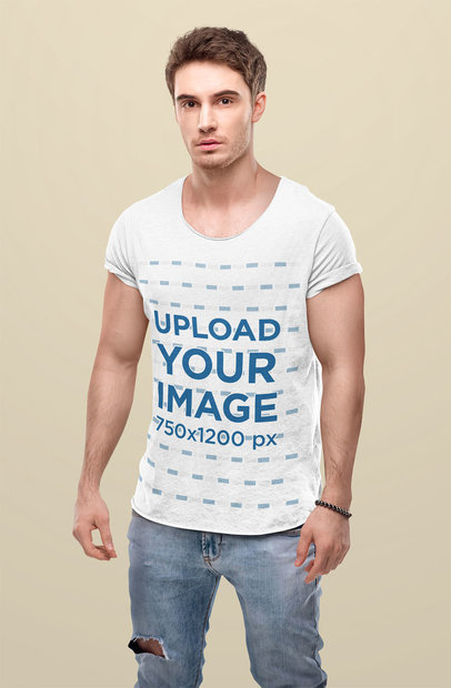 Scoop Neck Heathered T-Shirt Mockup of a Serious Man  45806-r-el2