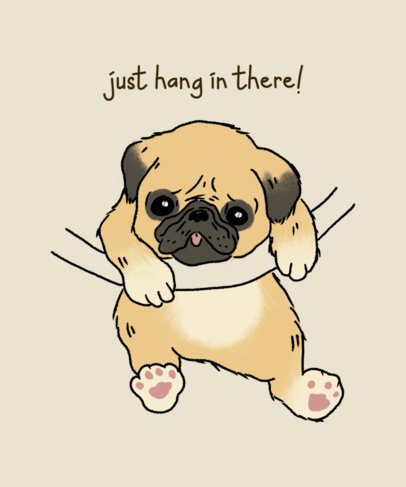 T-Shirt Design Generator Featuring a Small Pug Hanging From a Rope 3244d