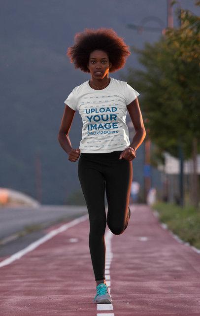 Activewear T-Shirt Mockup of a Young Woman Running 45394-r-el2