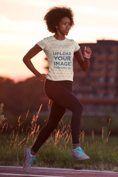 T-Shirt Mockup of a Woman Running in the Afternoon 45393-r-el2