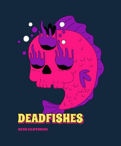 T-Shirt Design Template with a Bizarre Fish Cartoon 3240h