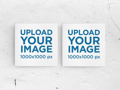 Mockup Featuring Two Square Art Prints and a Customizable Background m977